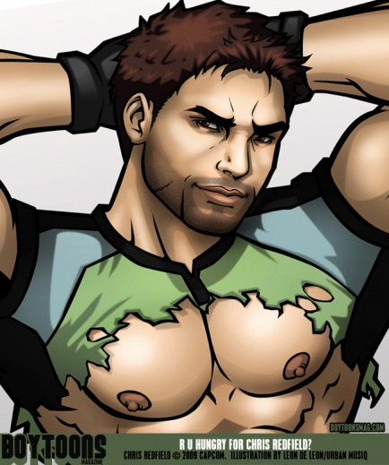 Detail of Chris Redfield's ruggedly handsome face, and muscular pecs!