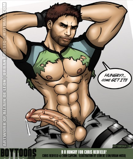Sexy Chris Redfield's weapon is definitely loaded. Fan art lovingly created by Leon de Leon.