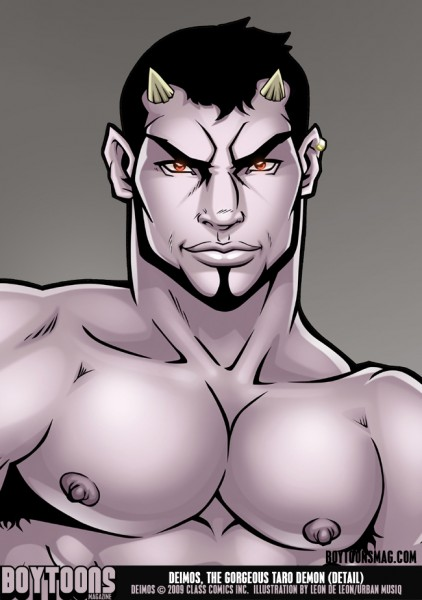 A close-up of Deimos' face -- drawn by Leon de Leon/Urbanmusiq.