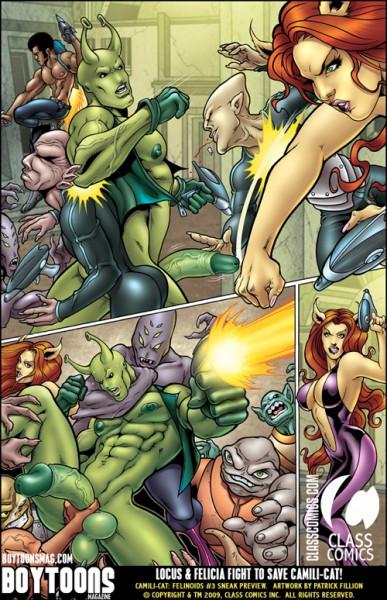 Felinoids #3 Sneak Preview. Locus and Felicia fight to save Camili-Cat.