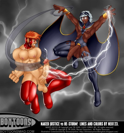 Naked Justice VS He-Storm. Image commissioned by Dinosaurprince.  Art by Neo123.