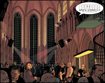 Lighting a church can't be easy, but colorist Yann Duminil pulls it off beautifully. A panel from NIGHTLIFE,