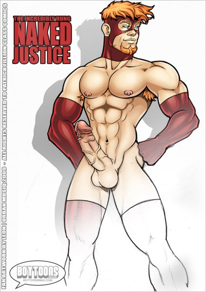 Leon de Leon/Urbanmusiq's take on Class Comics' NAKED JUSTICE! Half and half!