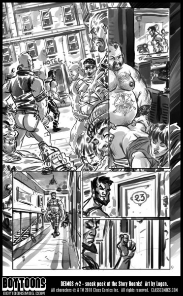 Following a lead, Deimos makes his way to a sleazy downtown hotel in Gateway City. Deimos #2 storyboards by Logan.
