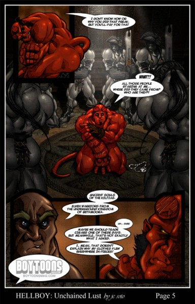 "Page 5 of Soto's Hellboy fan comic ""Unchained Lust""."
